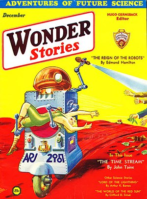 Clifford D. Simak - Simak's first story, The World of the Red Sun was listed on the cover of Wonder Stories in 1931