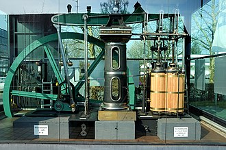 Compound engine - Woolf compound beam engine, 1858, with the light-coloured high- and low-pressure cylinders clearly visible