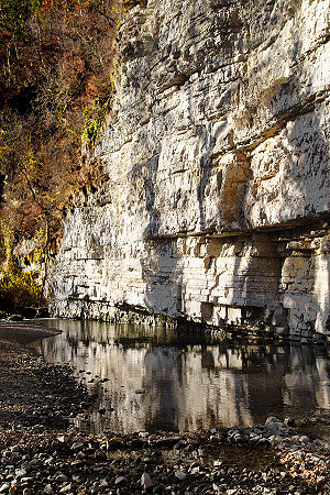Muschelkalk - An outcrop of Muschelkalk cliffs forms the shore of the Wutach River, in the south of Baden-Württemberg.