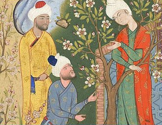 Courtship - Youth conversing with suitors from the Haft Awrang of Jami, in the story A Father Advises his Son About Love.
