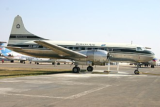 2018 Pretoria Convair 340 crash - ZS-BRV, the aircraft involved, seen in September 2006 with its previous Rovos Air livery.
