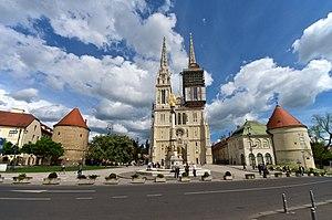 Zagreb - Kaptol square and Zagreb Cathedral.