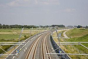 Blick auf den Streckenabschnitt bei Dodewaard