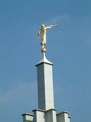 English: The angel Moroni statue atop of . Ned...