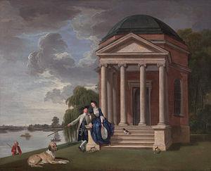 Garrick's Temple to Shakespeare - David Garrick and his Wife by his Temple to Shakespeare at Hampton, Johan Zoffany, c. 1762