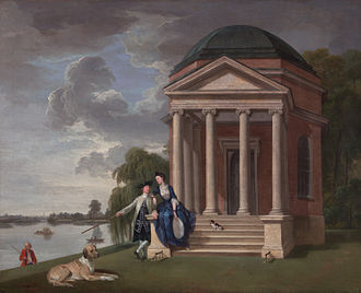 Garrick's Temple to Shakespeare - David Garrick and his Wife by his Temple to Shakespeare at Hampton, Johan Zoffany, c. 1762
