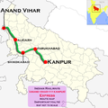 (Anand Vihar - Kanpur) Express route map.png