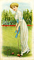 (Cigarette card depicting a woman playing croquet) (14058873328).jpg