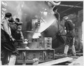 (Employees of Foundry Departmant, working pouring molten metal into molds, US Navy Yard, Mare Island, CA) - NARA - 296870.tif