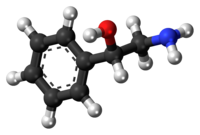Ball-and-stick model of the phenylethanolamine molecule