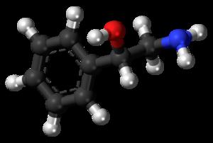 Phenylethanolamine - Image: (S) Phenylethanolamine molecule ball