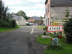 Étalle (Ardennes) city limit sign.JPG