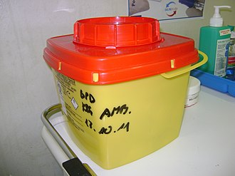 "Biomedical waste - ""Sharps container"" for needles"