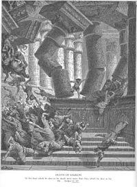 В библии древнееврейский богатырь с силой в волосах