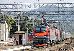 Tuapse - Express train Moscow—Adler leaving platform 1 of Tuapse station