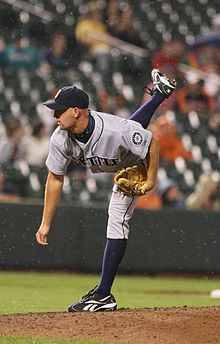 David Aardsma, in his follow-through after throwing a pitch for the Seattle Mariners