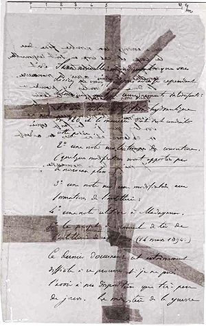 Dreyfus affair - Photograph of the bordereau dated 13 October 1894. The original disappeared in 1940