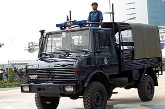 Royal Malaysia Police - A Royal Malaysia Police UNIMOG police truck.