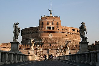 Castel Sant'Angelo or Hadrian's Mausoleum, is a Roman monument radically altered in the Middle Ages and the Renaissance built in 134 AD and crowned with 16th and 17th-century statues. 0 Castel et pont Sant'Angelo (1).JPG