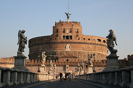 Castel Sant'Angelo or Hadrian's Mausoleum, it's a Roman monument radically altered in the Middle Ages and the Renaissance, here Pope Alexander VI secluded himself, from the Ponte Sant'Angelo built in year 134 crowned with 16th and 17th centuries' statues. 0 Castel et pont Sant'Angelo (1).JPG