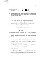 116th United States Congress H. R. 0000103 (1st session) - Foreign Medical School Accountability Fairness Act of 2019.pdf