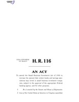 116th United States Congress H. R. 0000116 (1st session) - Investing in Main Street Act of 2019 B - Engrossed in House.pdf
