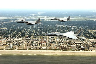 159th Fighter Squadron - 159th Fighter Squadron F-15s over Jacksonville Beach, FL. Aircraft are McDonnell Douglas F-15C-21-MC Eagles, AF Ser. No. 78-0487; 78-0527 and 78-0493
