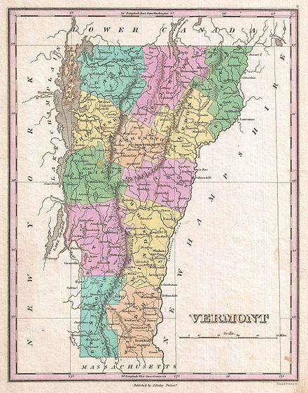 Vermont in 1827. The county boundaries have since changed. 1827 Finley Map of Vermont - Geographicus - Vermont-finely-1827.jpg