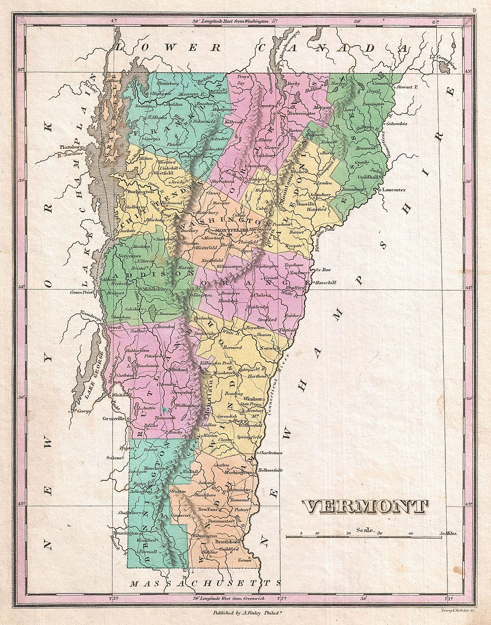 1827 Finley Map of Vermont - Geographicus - Vermont-finely-1827