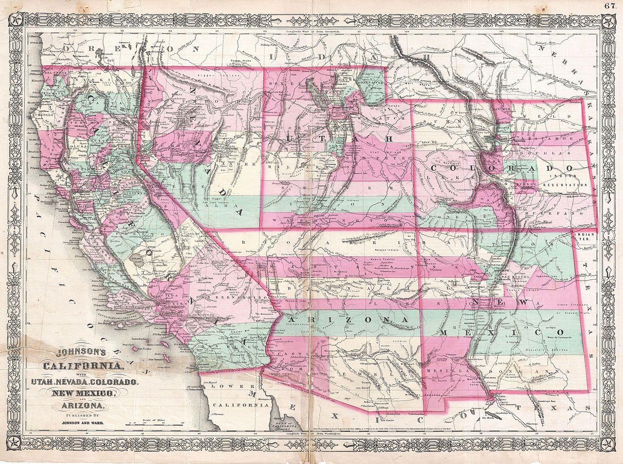 File:1864 Johnson Map of California, Nevada, Utah, Arizona, New ...