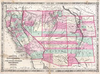 Map Of Arizona Border.File 1864 Johnson Map Of California Nevada Utah Arizona New