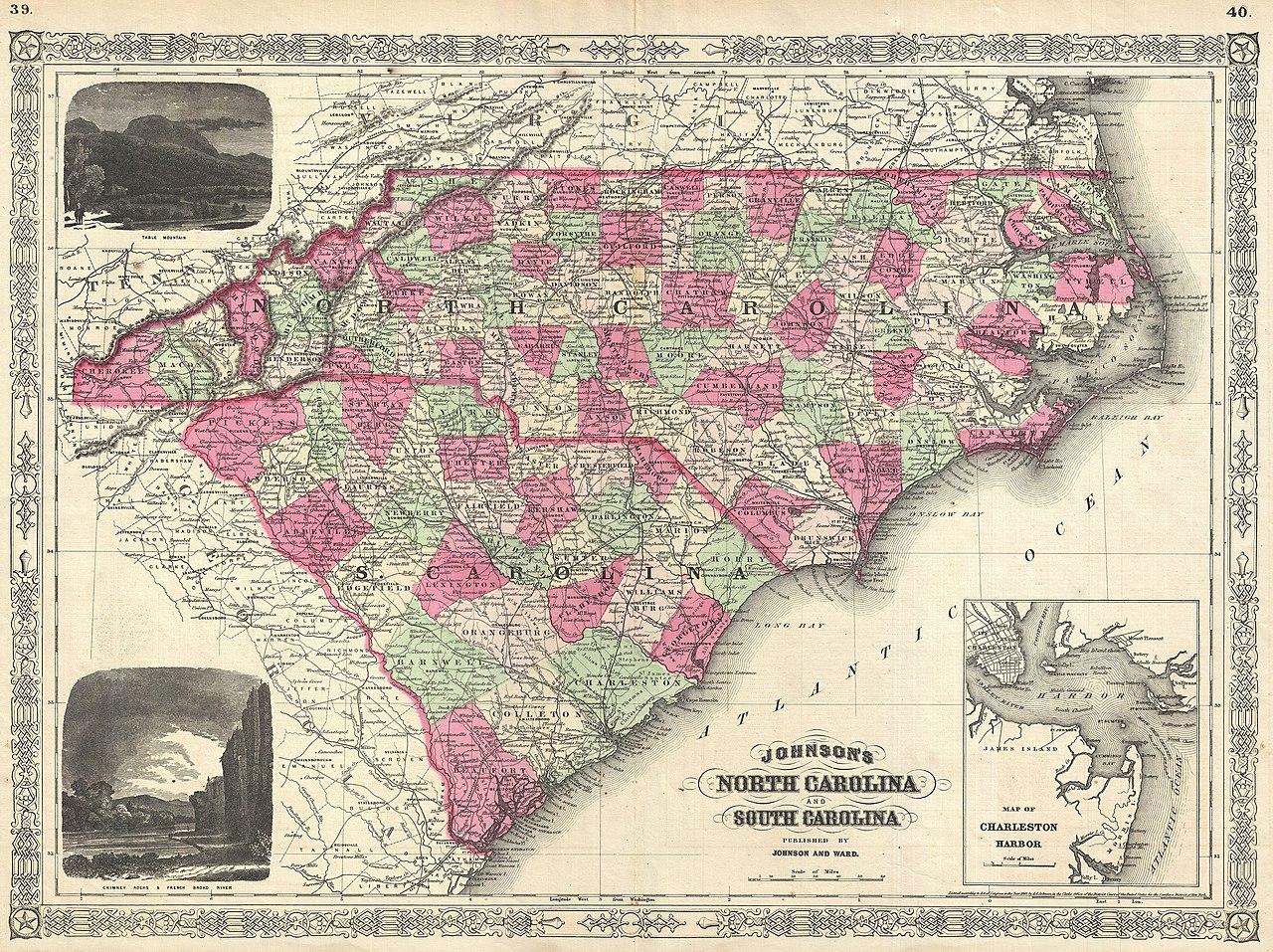 File:1866 Johnson Map of North Carolina and South Carolina ...
