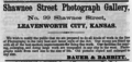 1867 Shawnee Street Photograph Gallery advert Leavenworth City Kansas.png