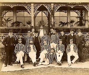 Tup Scott - Tup Scott pictured 3rd left (front row) with the 1886 Australian cricket team