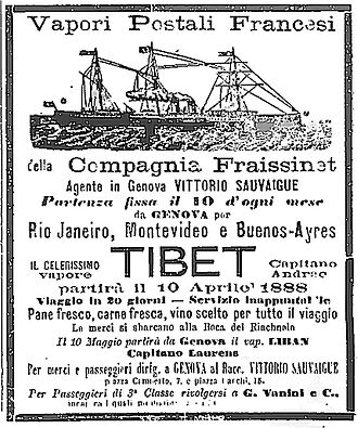 Compagnie Fraissinet - 1888 advertisement for the company