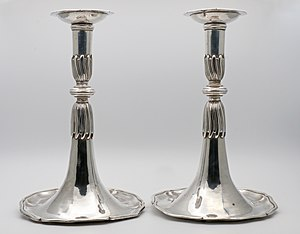 Lausanne - 18th Century silver trumpet candlesticks from Lausanne