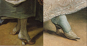 1700–50 in Western fashion - Shoes of 1742 (left) and 1731 (right).
