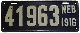 Vehicle registration plates of Nebraska - Image: 1916 Nebraska license plate 41963