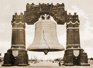 Sesquicentennial Exposition - The 80-foot tall illuminated Liberty Bell spanning Broad St.