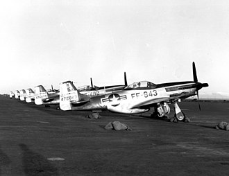 Iceland in the Cold War - North American F-51D Mustangs of the 192d Fighter-Bomber Squadron (Nevada Air National Guard) stationed at Keflavik air base in 1952-1953