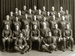 History of Michigan Wolverines football in the Kipke years - 1932 national championship team including Gerald Ford (No. 48), Harry Newman (No. 46), and Willis Ward (No. 61)