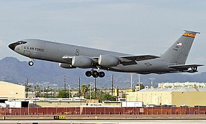 Arizona Air National Guard - 197th Air Refueling Squadron - KC-135R Stratotanker taking off from Sky Harbor Air National Guard Base, Phoenix.  The 197th ARS is the oldest unit in the Arizona Air National Guard, having over 60 years of service to the state and nation