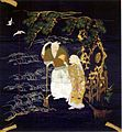 19th century Fukusa portraying the legend of Takasago with Jo and Uba under a pine tree, embroidered silk and couched gold-wrapped thread on indigo dyed shusa satin silk.jpg