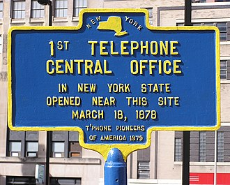 History of the telephone - Historical marker commemorating the first telephone central office in New York State (1878)