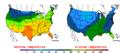 2005-11-04 Color Max-min Temperature Map NOAA.png