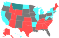 2006 United States Senate Election by Change of the Majority Political Affiliation of Each State's Delegation From the Previous Election.png