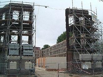 Facadism - Preservation of a 19th-century facade, Noordereiland, Rotterdam