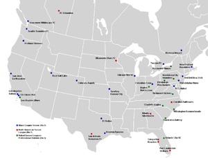 2012 in American soccer - The professional soccer clubs of the United States and Canada, year 2012. Not pictured: NASL or USL Pro clubs based off the mainland.