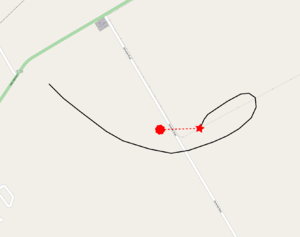 2012 Carterton hot air balloon crash - The approximate final route of the balloon. The red star indicates where the balloon first came into contact with the 33 kV power line (the faint grey line from the east), while the red circle is where the balloon wreckage was found.