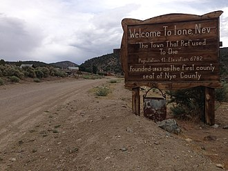 Ione, Nevada - Sign at the west entrance to Ione